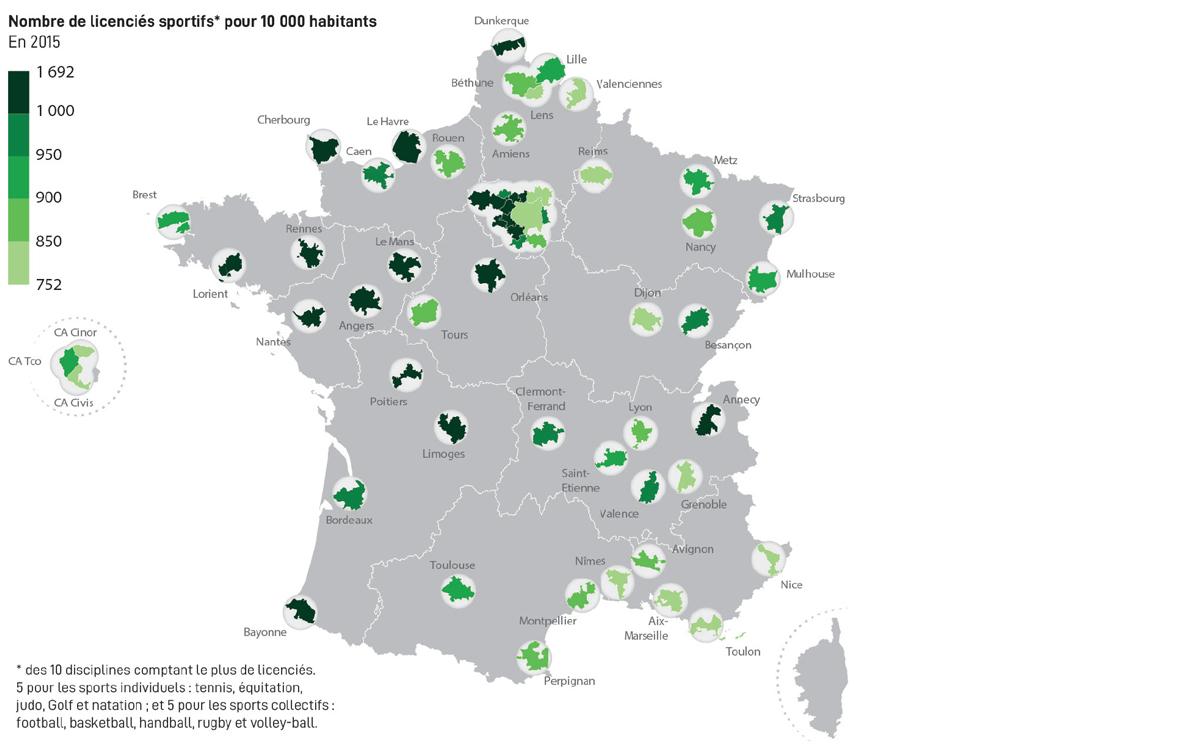 Nombre de licenciés sportifs pour 10 000 habitants