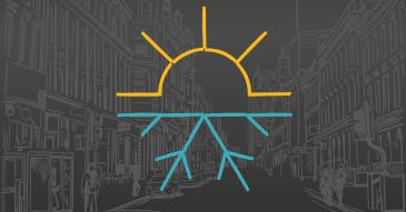 dessin d'une ville en NB avec pictos soleil et neige